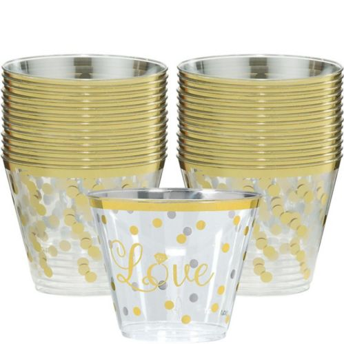Sparkling Wedding Plastic Cups, 30-pk