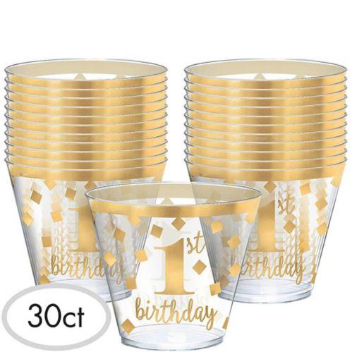 Metallic Confetti 1st Birthday Plastic Tumblers, 30-pk
