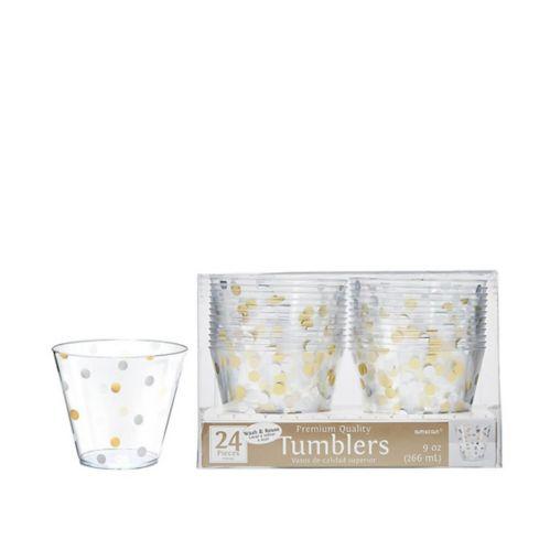 Metallic Gold & Silver Confetti Premium Plastic Cups, 24-pk