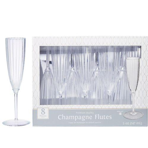 Flûte à champagne en plastique transparent qualité supérieure, paq. 8
