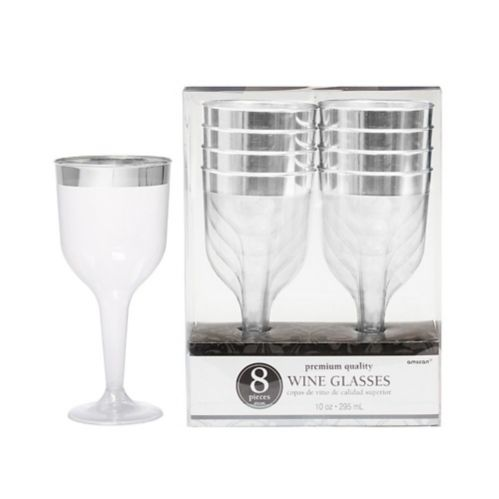 Verres à vin en plastique TRANSPARENT, bord argent, qualité supérieure, paq. 8