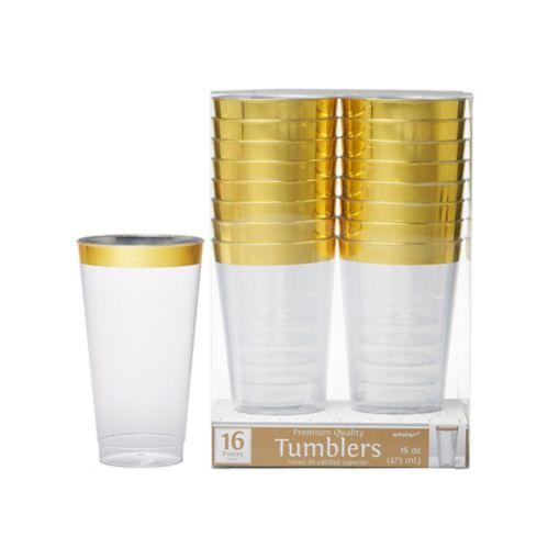 Verres en plastique transparent à bordure or de première qualité, paq. 16 Image de l'article