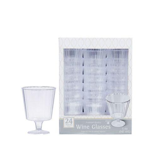 CLEAR Premium Plastic Wine Glasses, 24-pk