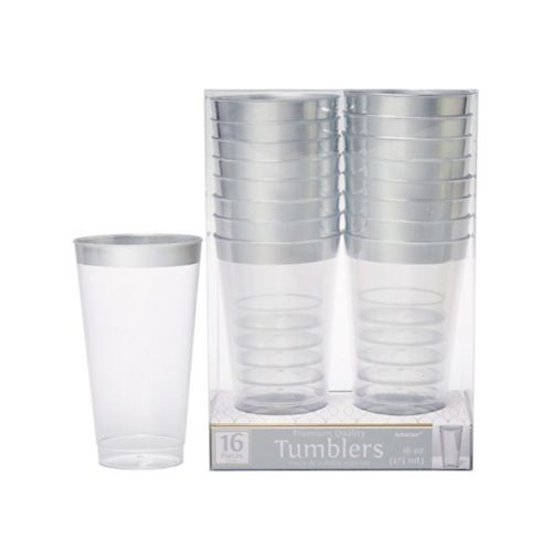 Clear Silver-Trimmed Premium Plastic Cups, 16-ct Product image