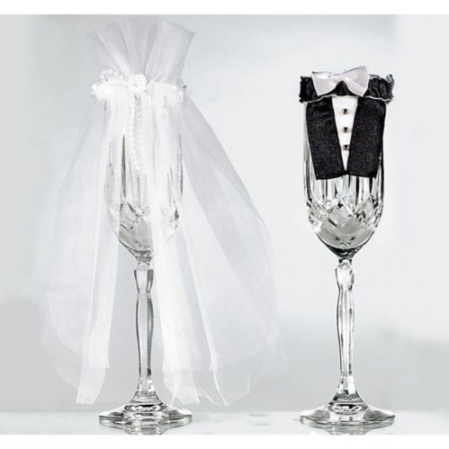 Bride & Groom Wedding Champagne Flute Covers, 2-pc
