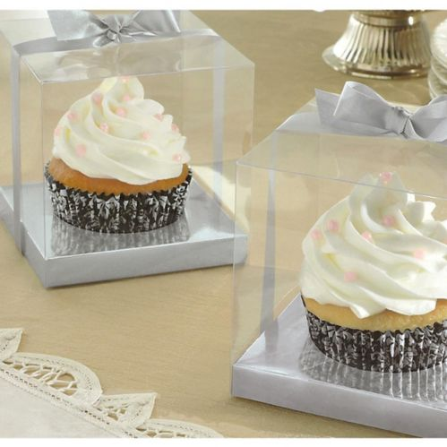 Silver Individual Cupcake Boxes, 20-pk Product image