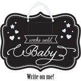 Panneau tableau noir compte à rebours fête prénatale