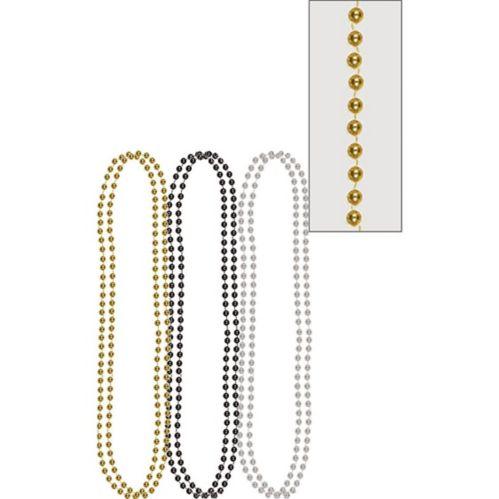 Colliers de perles métalliques, paq. 6
