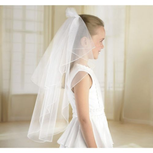Girls White Double Layer Veil, 24-in