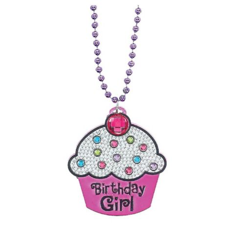 Collier avec pendentif en forme de petit gâteau «Birthday Girl»