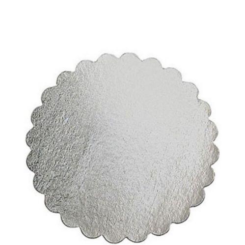 Planche à gâteau ronde argentée, 12 po
