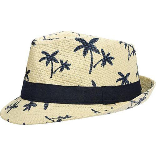 Chapeau mou en paille à motif de palmiers