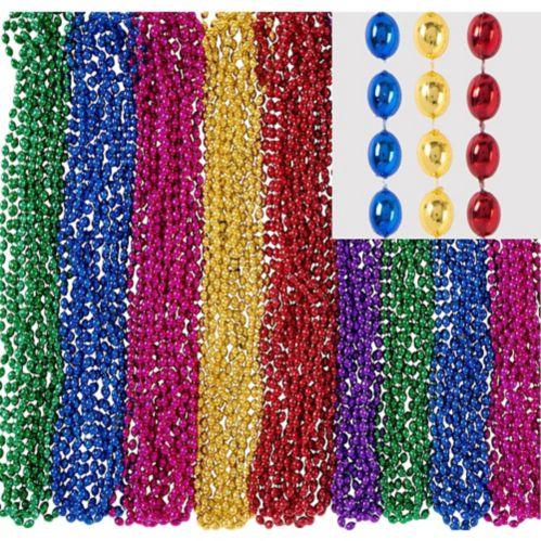 Colliers de perles métalliques, paq. 24