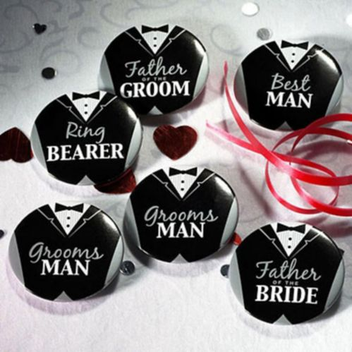 Groom Bridal Party Buttons, 8-pk