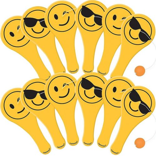 Smiley Paddle Balls, 12-pk