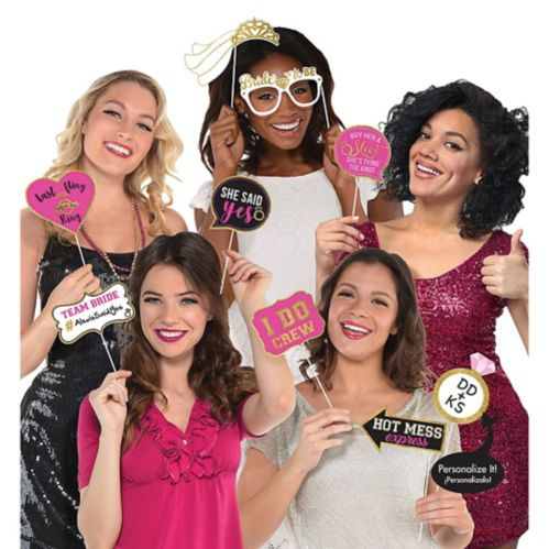 Bachelorette Party Photo Booth Props, 13-pk