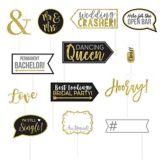 Glitter Gold Wedding Photo Booth Props, 13-pk