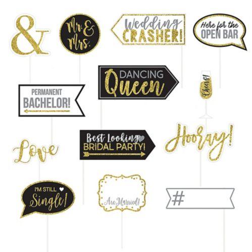Accessoires cabine photographique Mariage à paillettes dorées