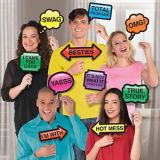 Trendy Phrases Photo Booth Props, 13-pc