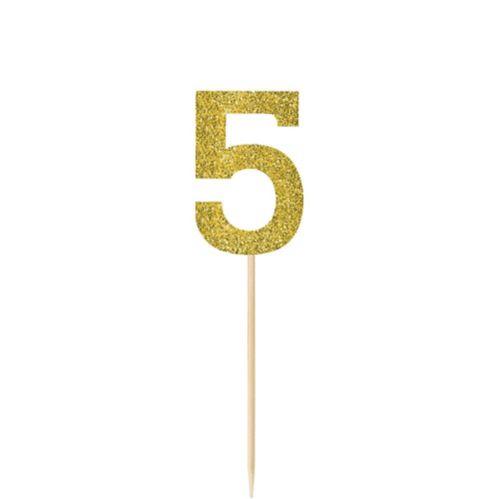 Piquets numéro 5 brillants dorés, paq. 4 Image de l'article
