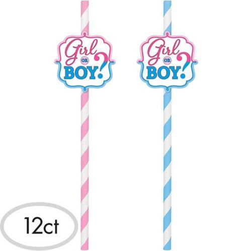 Girl or Boy Gender Reveal Paper Straws, 12-pk