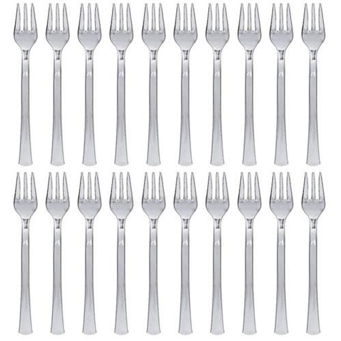 Mini-fourchettes en plastique argenté, paq. 30