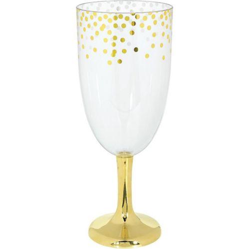 Verre à vin géant en plastique métallique à pois dorés