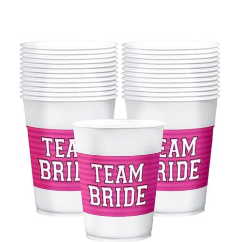Team Bride Plastic Cups, 25-pk