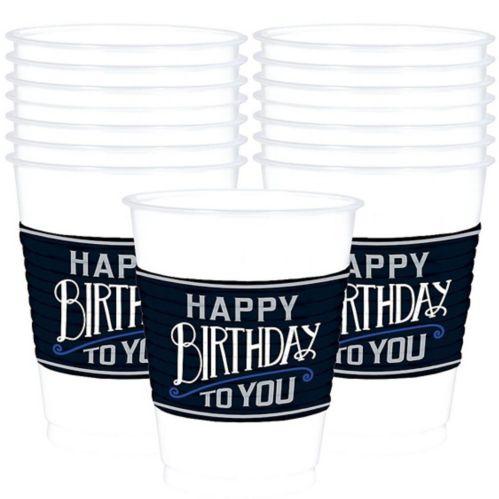 Gobelets en plastique joyeux anniversaire classique, paq. 25
