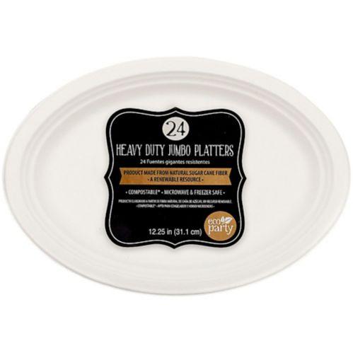 Eco-Friendly White Sugar Cane Platters, 24-pk