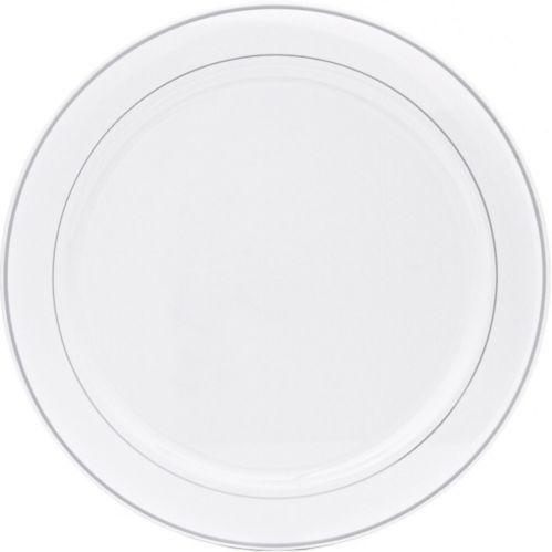 Assiette de service en plastique blanc à bordure argent Image de l'article