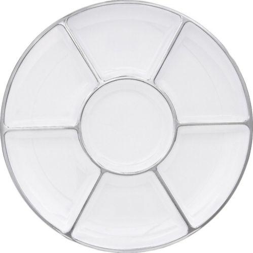 Assiette de service à sections en plastique blanc à bordure argent Image de l'article