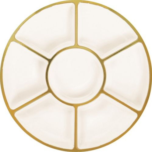 Plateau à sections à bordure en plastique crème