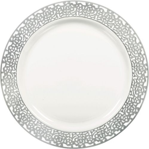 Lace Border Premium Plastic Dinner Plates, 10-ct