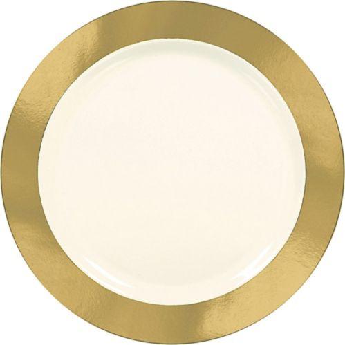Grandes assiettes en plastique de première qualité, bordure royale, paq. 10 Image de l'article