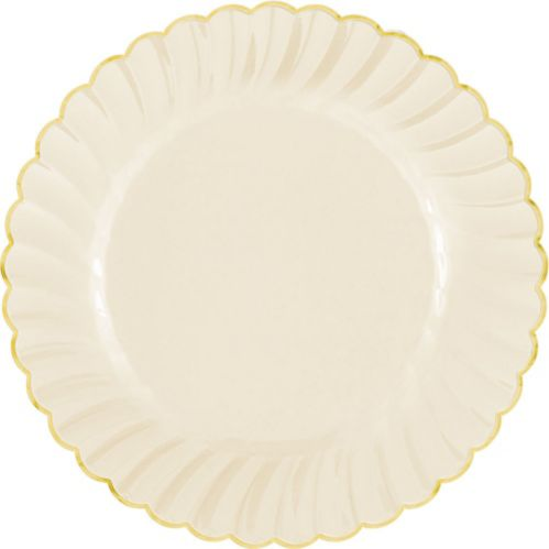 Trimmed Premium Plastic Scalloped Dinner Plates, 10-ct Product image