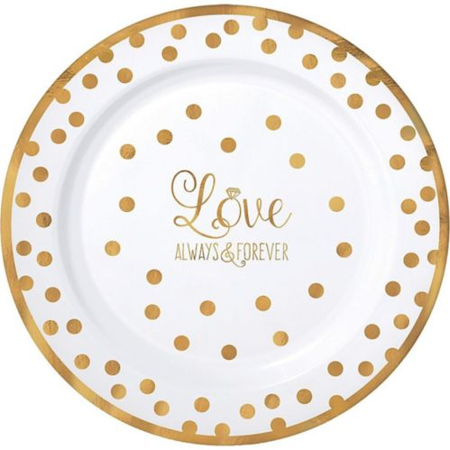Sparkling Gold Wedding Premium Plastic Dinner Plates, 10-pk