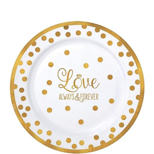 Assiettes à dîner en plastique de qualité supérieure pour le mariage doré étincelant, paq. 20