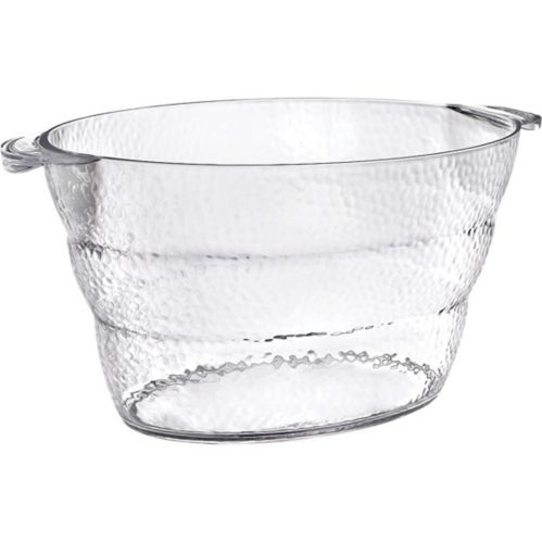 Clear Premium Plastic Hammered Oval Ice Bucket