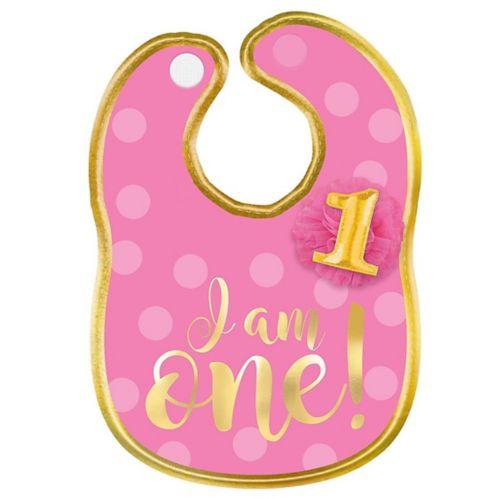 1st Birthday Bib, Pink/Gold