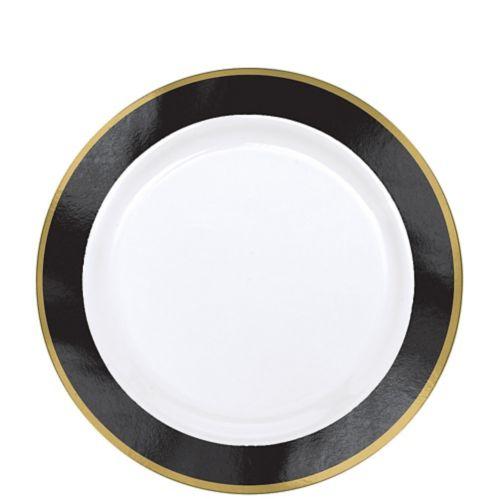 Assiettes en plastique de première qualité, bordure royale, paq. 10