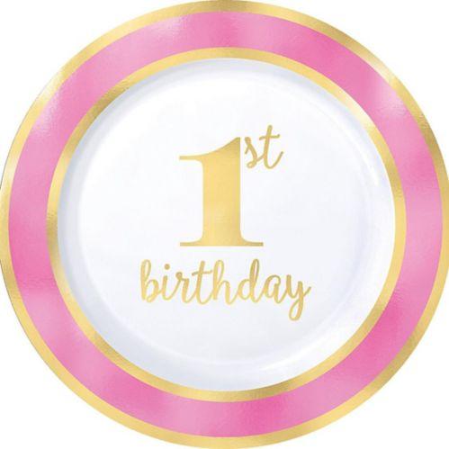 Metallic Pink & Gold 1st Birthday Premium Plastic Dinner Plates, 10-pk