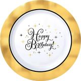 Metallic Gold Birthday Premium Plastic Dinner Plates, 10-pk