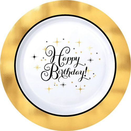 Metallic Gold Birthday Premium Plastic Dinner Plates, 10-pk Product image