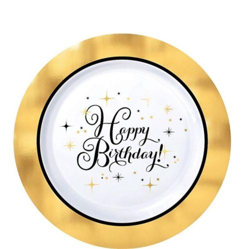 Assiettes à dessert pour anniversaire en plastique de qualité supérieure, doré métallisé, paq. 10 Image de l'article