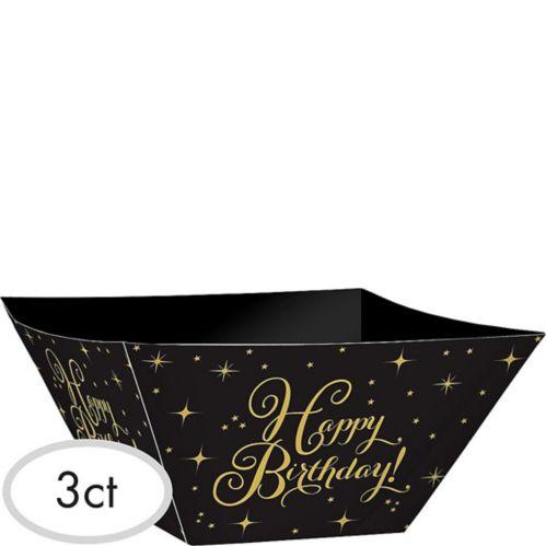 Gold Birthday Paper Serving Bowls, 3-pk