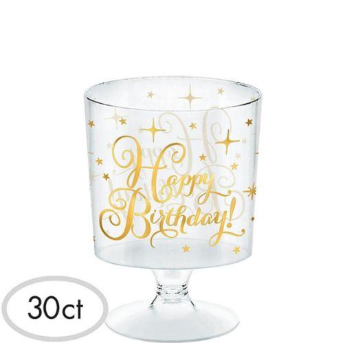Mini verre sur socle pour fête d'anniversaire en plastique or métallique, paq. 30 Image de l'article