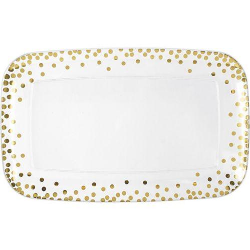Metallic Polka Dots Plastic Rectangular Platter