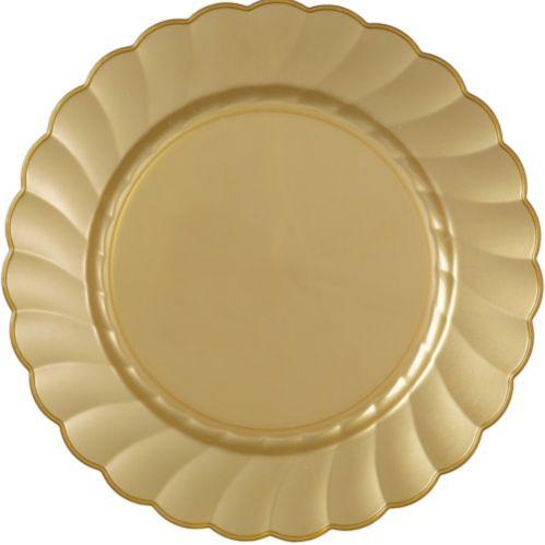 Grandes assiettes en plastique festonné de première qualité, bleu royal, paq. 12