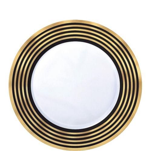 Assiettes à dessert en plastique de qualité supérieure, à rayures noires et dorées métallisées, paq. 20